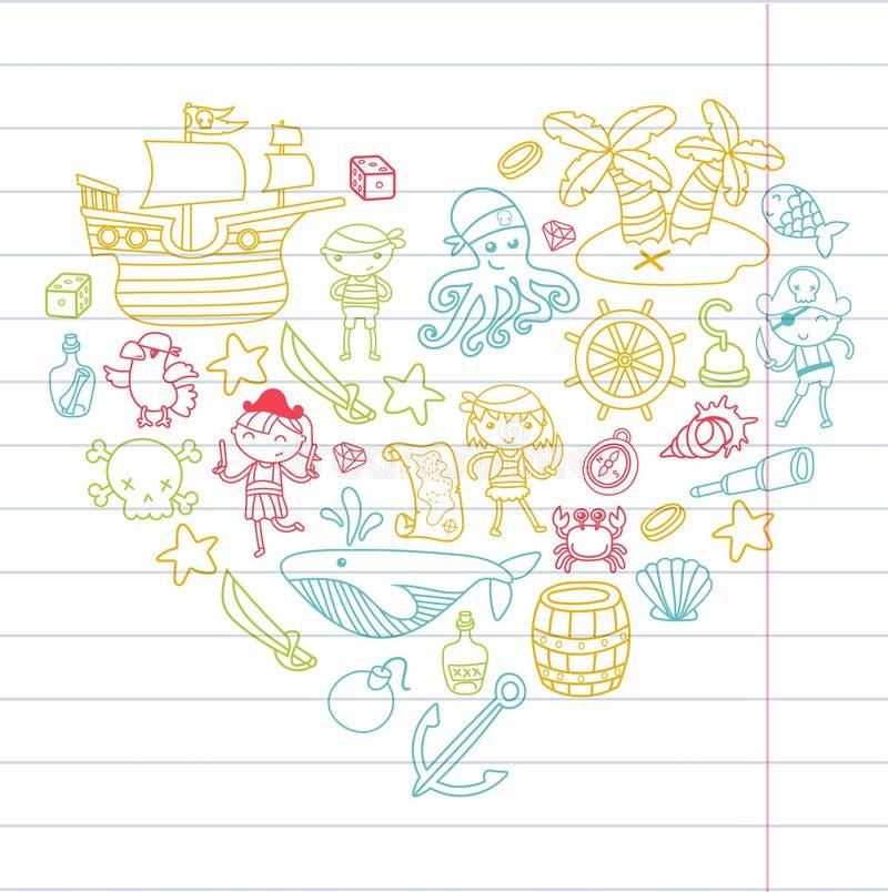 Att spela för hjärtaformbarn piratkopierar pojkar och flickor dagiset, skolan, förträningen, ön för den halloween partiskatten vektor illustrationer
