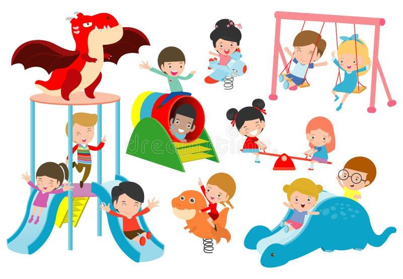 Att spela för ungar som är utvändigt, barnet som spelar på lekplatsen, lyckligt spela för barn, parkerar vektorillustrationen royaltyfri illustrationer