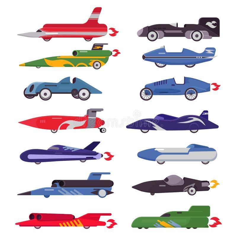 Att springa för racerbilvektor som är speedcar på en spår- och automatiskbolide som kör på, samlar illustrationen för sporthändel vektor illustrationer