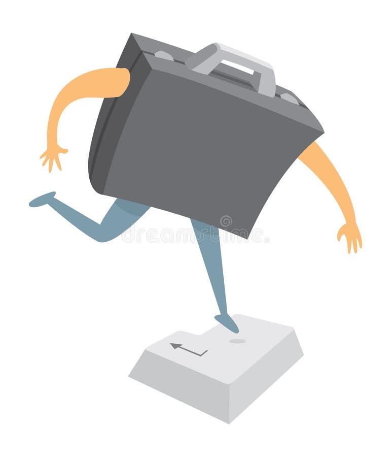 Att trycka på för Digital affärsportfölj skriver in eller återgångtangenten stock illustrationer