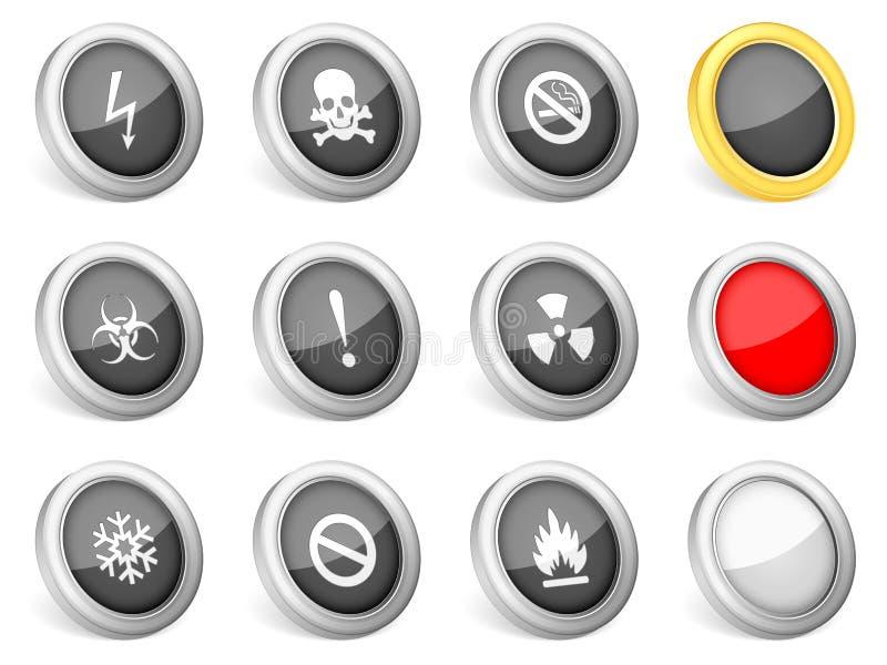 att varna för symboler 3d undertecknar royaltyfri illustrationer