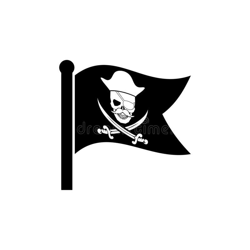 Att vinka piratkopierar logo f?r flaggasymbolstecken arkivfoton
