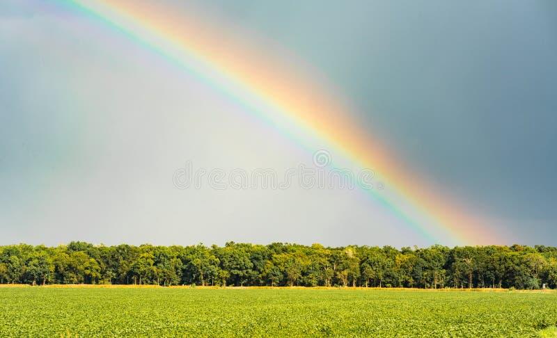 Att virvla runt för storm frambringar regnbågen, som solen kommer ut över jordbruksmark arkivfoto