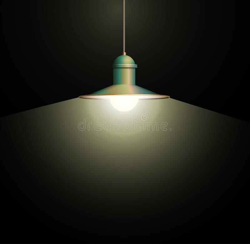 Attaccatura bronzea antica della lampada Grande e spazio vuoto illuminato sulla parete scura illustrazione vettoriale