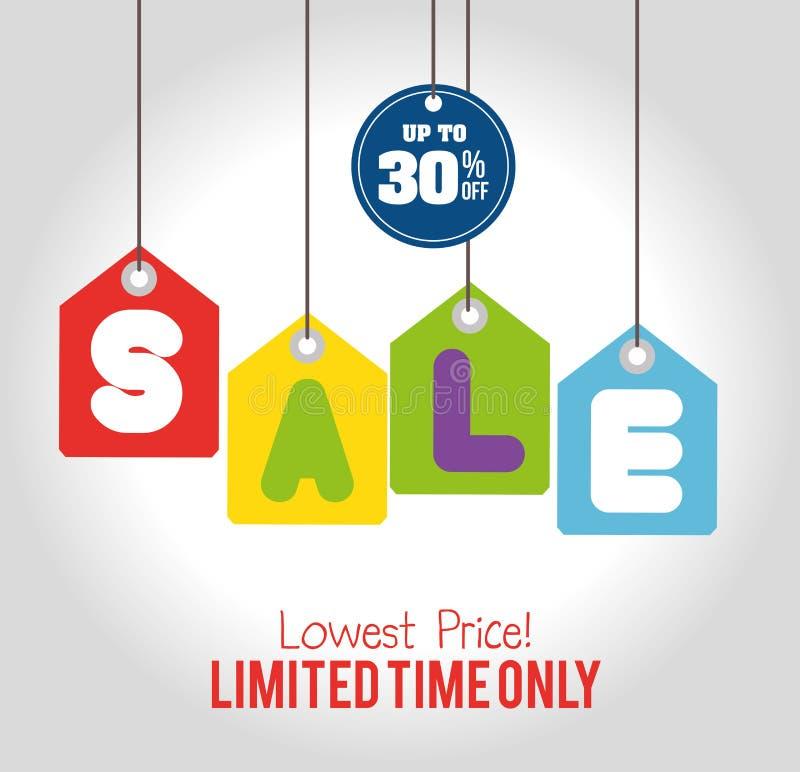 Attaccatura delle etichette di vendita a ribasso di tempo limitato di vendita soltanto royalty illustrazione gratis