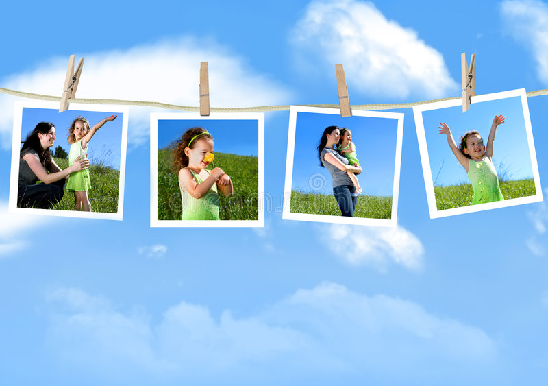 Attaccatura delle fotografie della famiglia fotografia stock