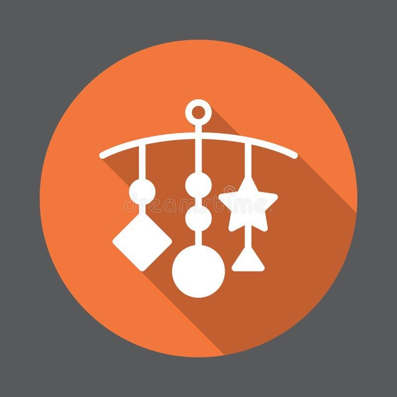 Attaccatura - la greppia gioca l'icona piana Bottone variopinto rotondo, segno circolare di vettore con effetto ombra lungo illustrazione di stock