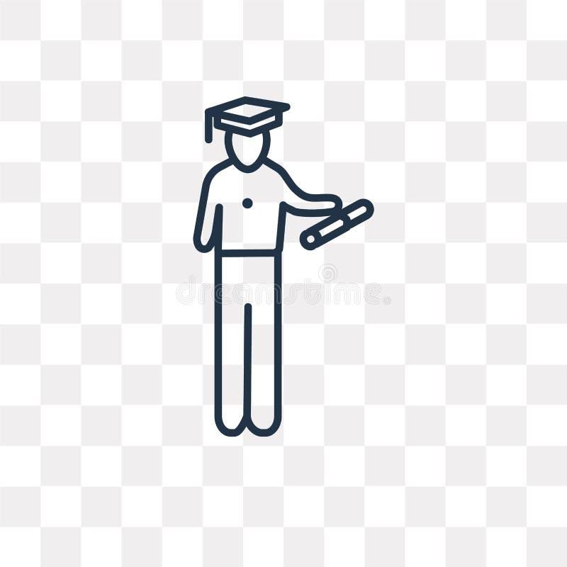 Attacchi l'icona di vettore laureata uomo isolata sul backgrou trasparente royalty illustrazione gratis