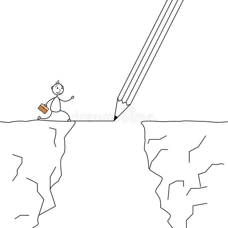Attacchi l'uomo che attraversa le scogliere con un disegno a matita il ponte illustrazione vettoriale