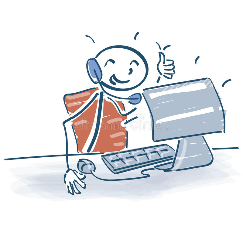 Attacchi la figura che si siede al computer con una cuffia avricolare sopra illustrazione di stock