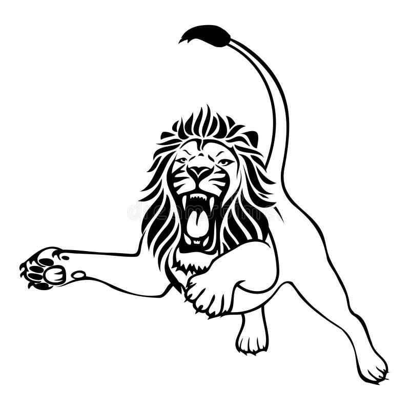 Attacco arrabbiato del leone royalty illustrazione gratis