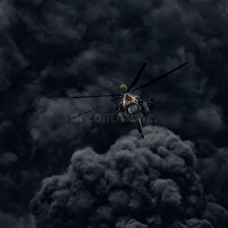 Attacco con elicottero contro lo sfondo di fumo immagine stock