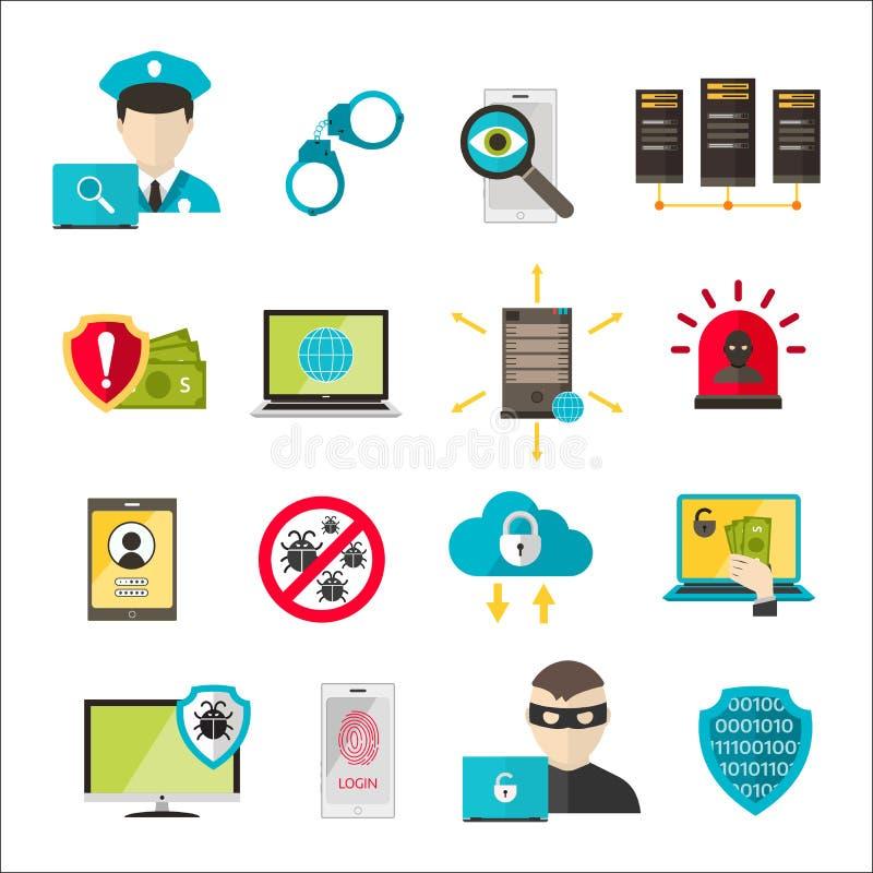 Attacco cyber del virus delle icone di sicurezza di Internet illustrazione di stock