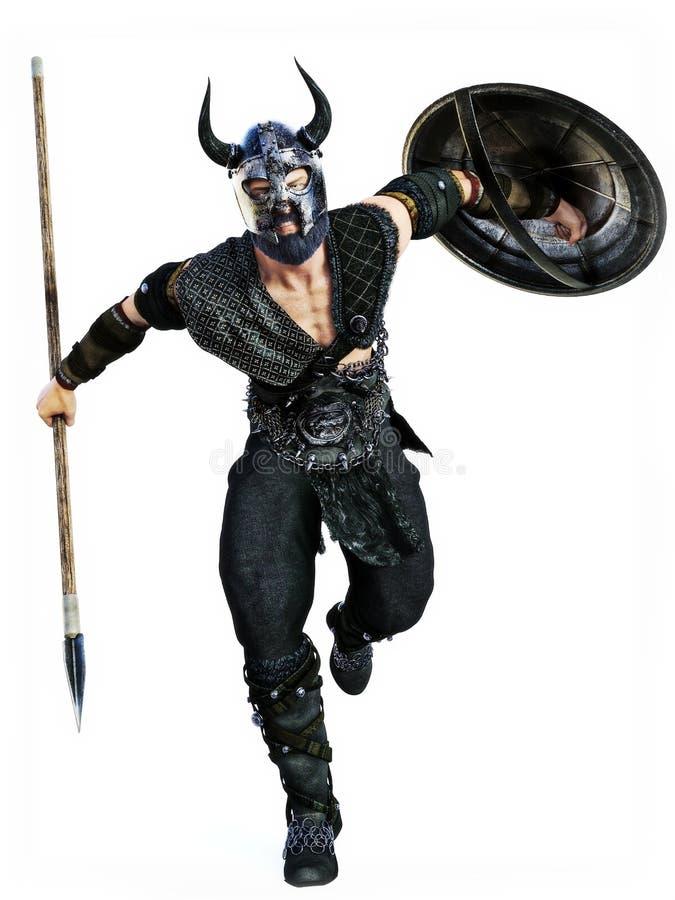 Attacco di Viking con la lancia e lo schermo ad un fondo bianco isolato fotografia stock