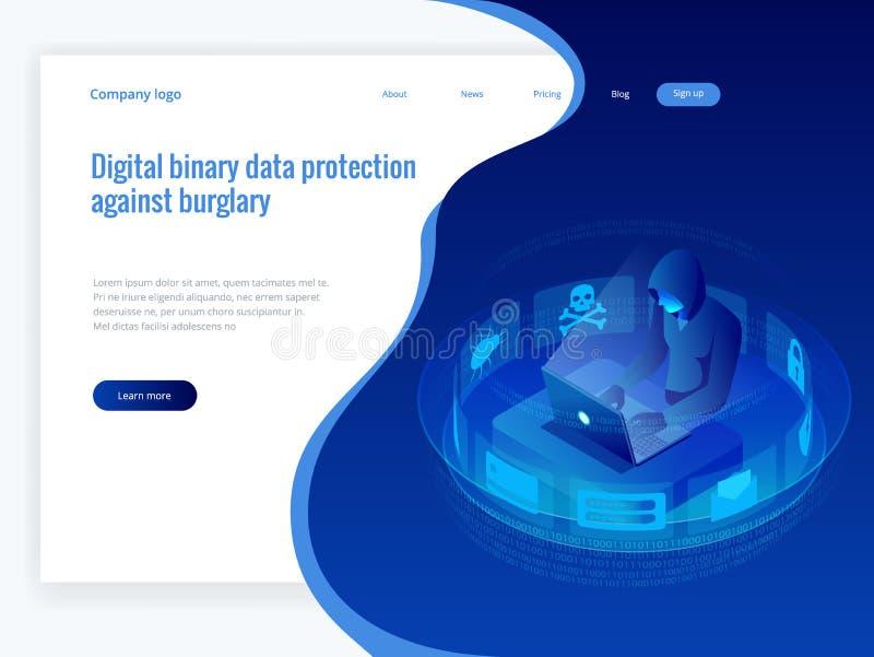 Attacco isometrico del pirata informatico di Internet di vettore e concetto personale di protezione dei dati Tecnologia di sicure royalty illustrazione gratis