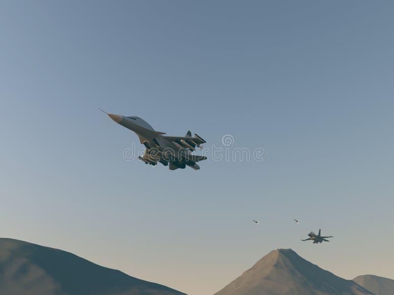 Attacco turco del combattente al bombardiere russo Attacco degli aerei turchi nell'aereo russo Illustrazione del quadro televisiv fotografia stock
