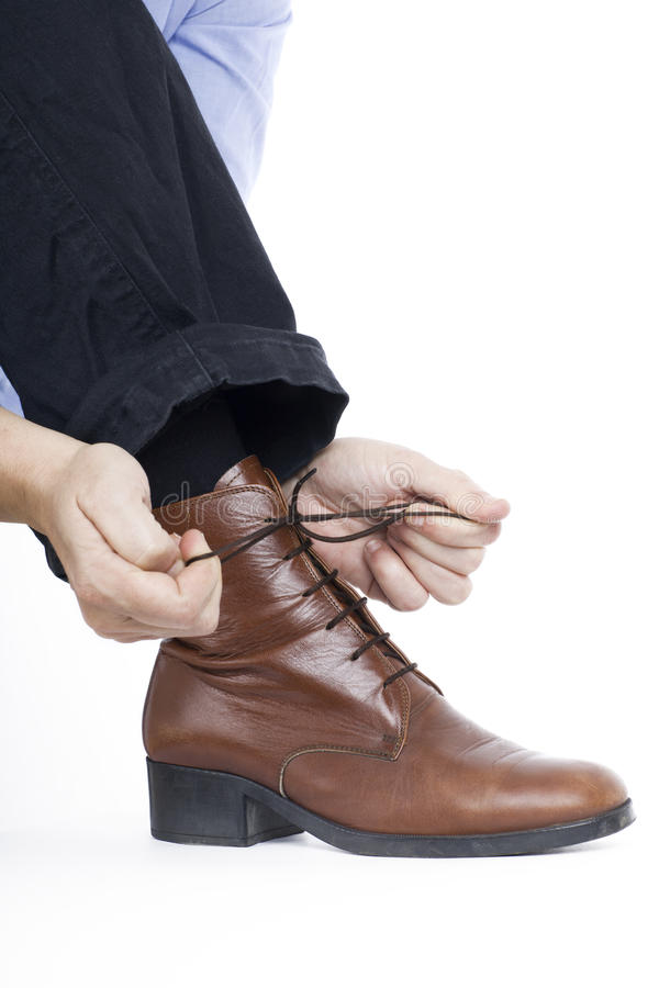 Attachement des chaussures photo libre de droits