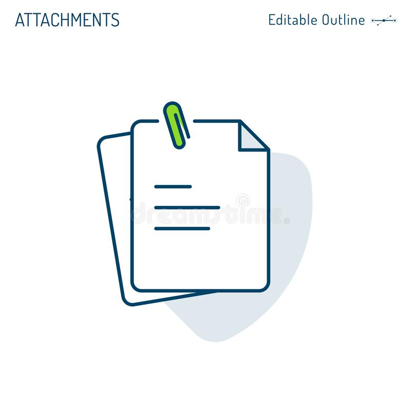 Attachements icône, trombone, notes, icône de document, bloc-notes, presse-papiers, dossiers de bureau d'entreprise constituée illustration de vecteur