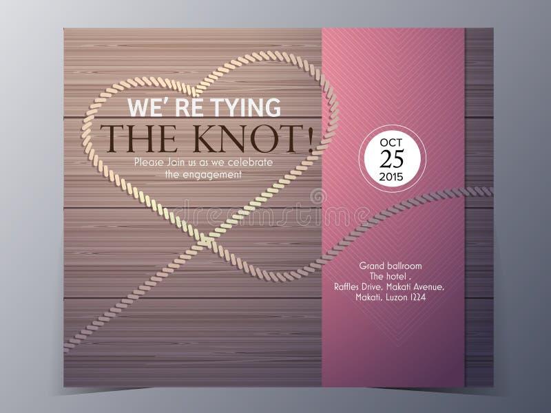 Attachez le calibre de vecteur de carte d'invitation de mariage de concept de noeud illustration stock