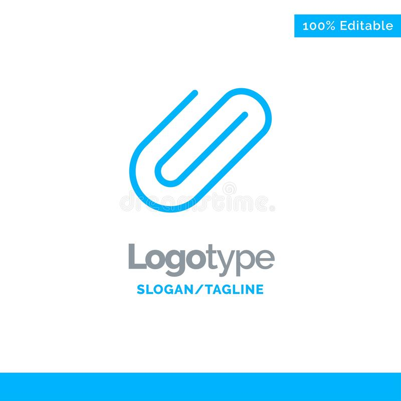 Attachment, Binder, Clip, Paper Blue Solid Logo Template. Place for Tagline vector illustration