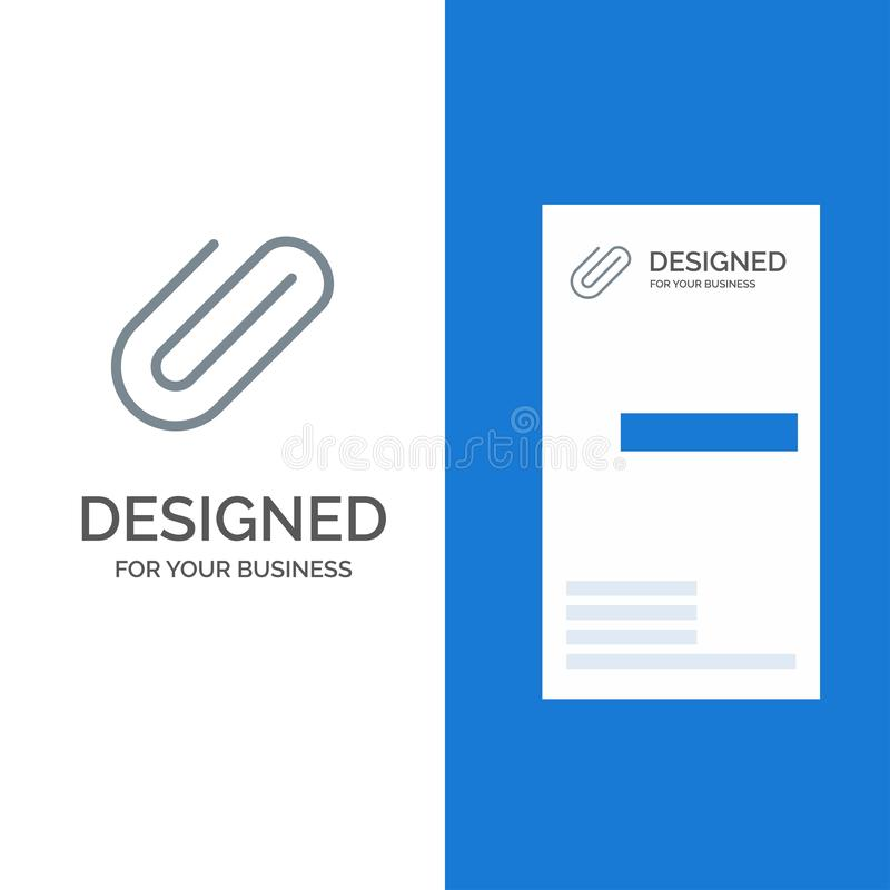 Attachment, Binder, Clip, Paper Grey Logo Design and Business Card Template royalty free illustration