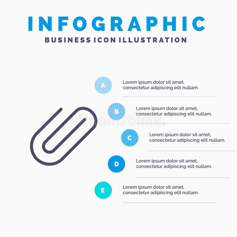 Attachment, Binder, Clip, Paper Line icon with 5 steps presentation infographics Background stock illustration