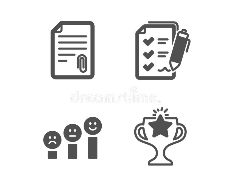 Attachment, Customer satisfaction and Survey checklist icons. Victory sign. Vector. Set of Attachment, Customer satisfaction and Survey checklist icons. Victory stock illustration