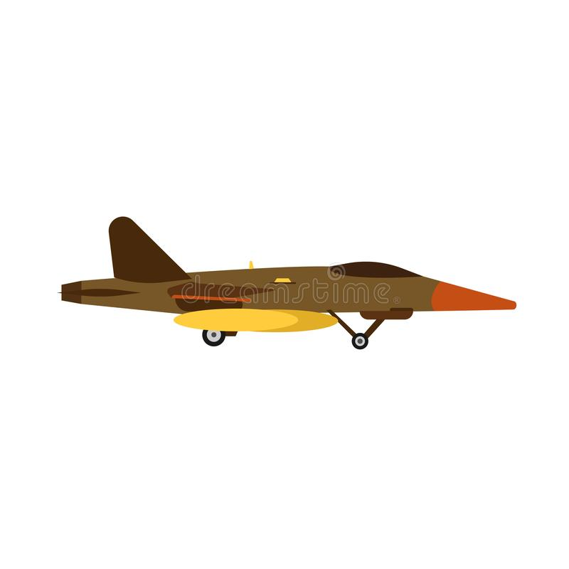 Attack aircraft military vector air aviation jet. Army war plane fighter force side view. Fly missile transport warfare icon vector illustration