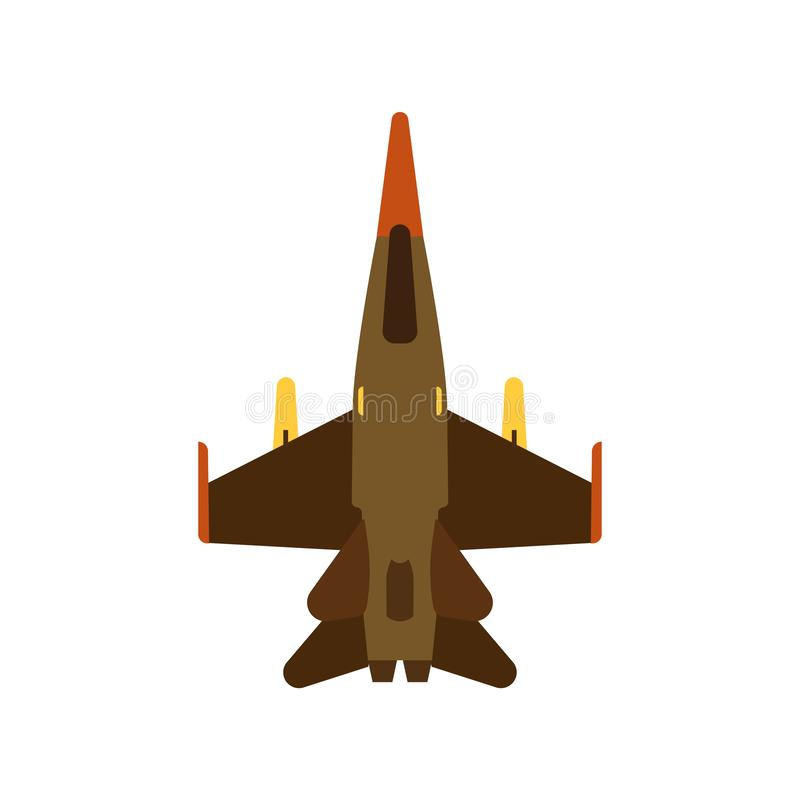 Attack aircraft top view green vector icon. Aviation flight transport with weapon. Speed power vehicle warfare vector illustration