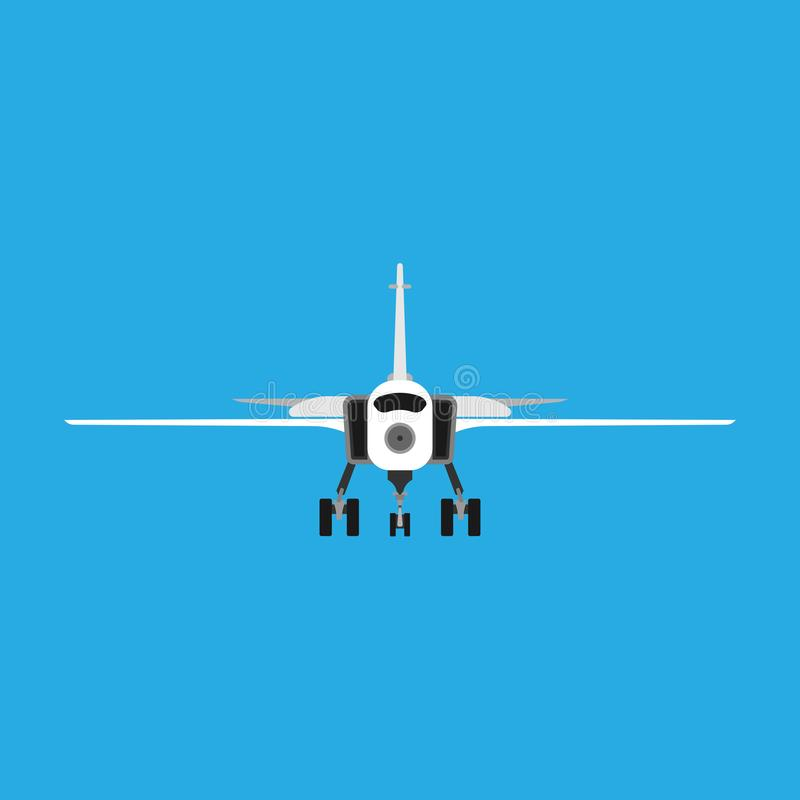 Attack aircraft vector military army aviation icon front view. War plane jet force fighter. Defense navy engine design vector illustration