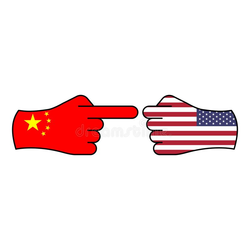 attack china defense usa hand gesture colored icon. Elements of flag illustration icon. Signs and symbols can be used for web, stock illustration