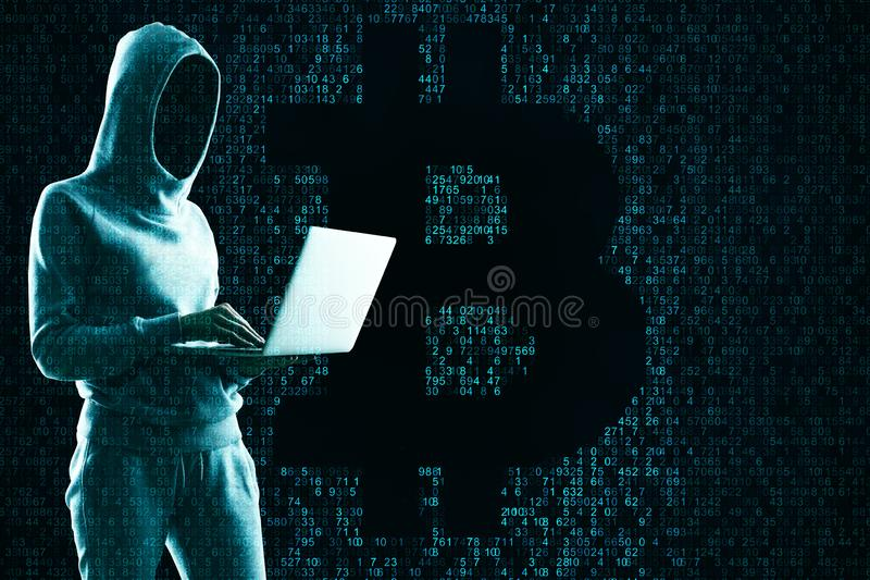Attack and cryptocurrency concept royalty free stock photography