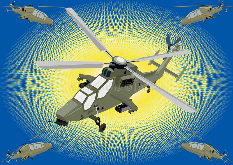 Download Attack helicopters stock vector. Illustration of blue - 17627179