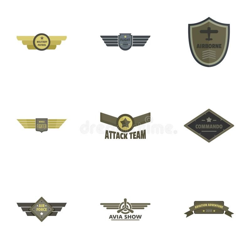 Attack icons set, flat style vector illustration