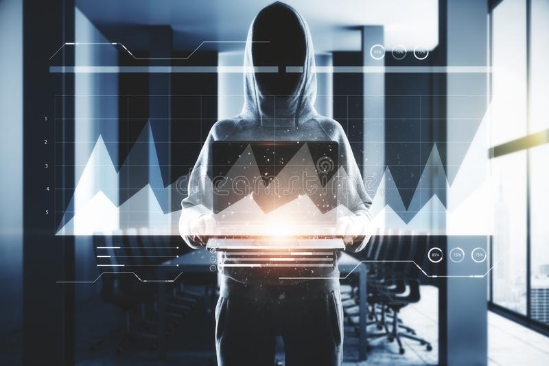 Attack and invest concept. Hacker holding laptop with business chart in blurry office interior. Attack and invest concept. Double exposure royalty free stock photography