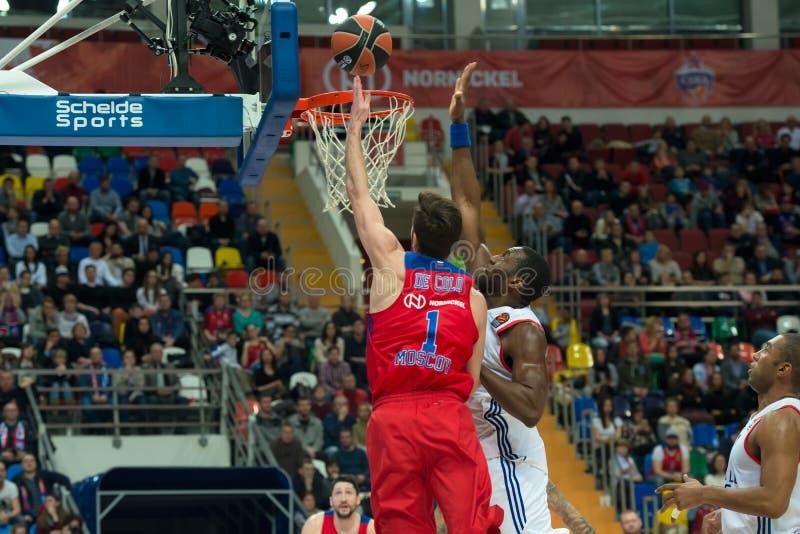 In attack Nando De Colo 1. MOSCOW, RUSSIA - JANUARY 27, 2017: Nando De Colo 1 on the on basketball game CSKA vs Anadolu Efes on Regular championship of royalty free stock photos