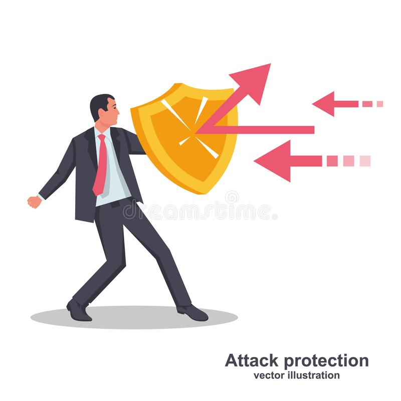 Attack protection. Businessman holds a shield defending from attacks. Reflection impact. Vector illustration flat design. Isolated on white background. Series vector illustration