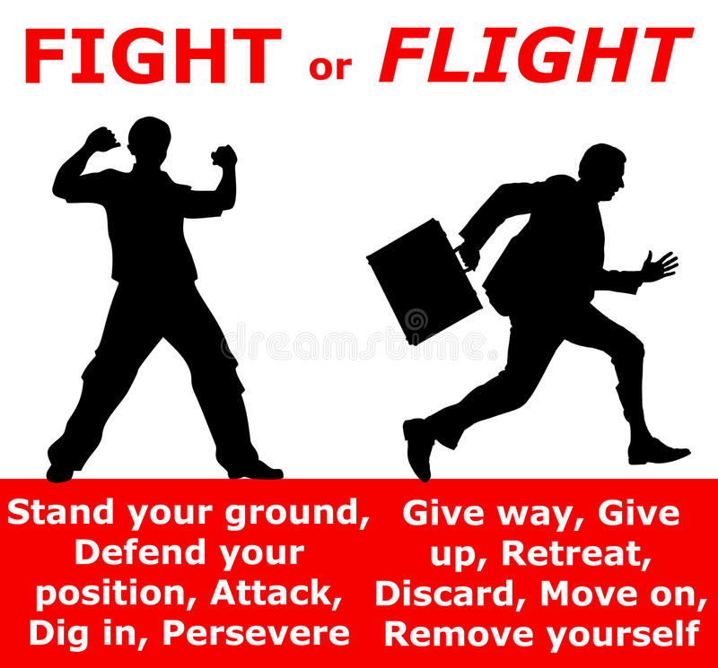 Attack retreat. Fight or flight response depending on the situation or danger vector illustration