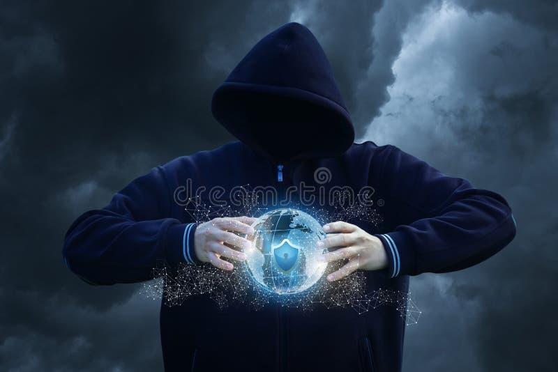 Attack skyddat globalt nätverk stock illustrationer