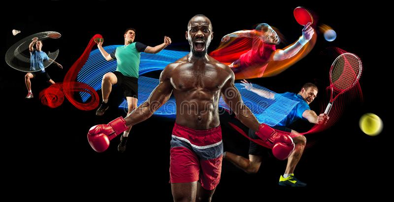 Attack. Sport collage about badminton, tennis, boxing and handball players. On black royalty free stock images