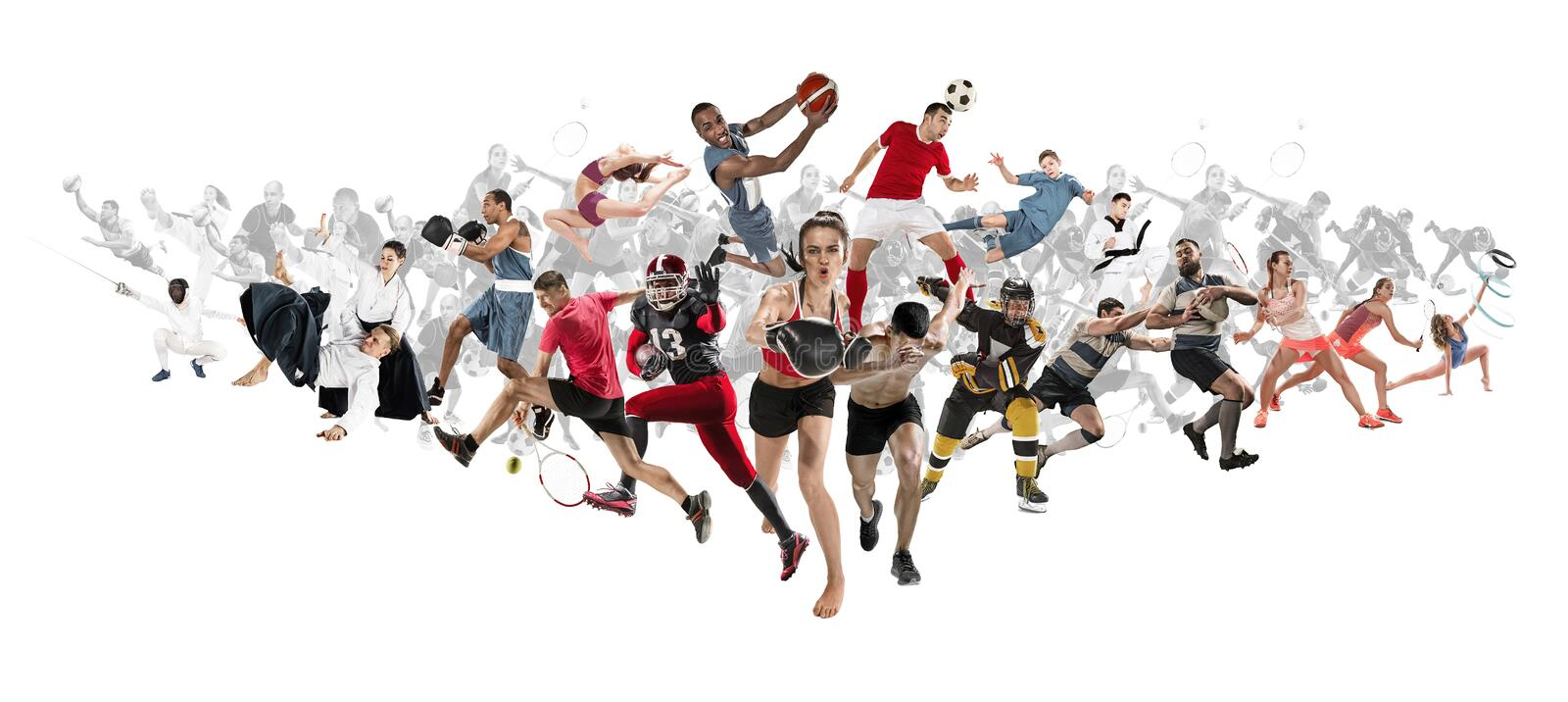 Sport collage about kickboxing, soccer, american football, basketball, ice hockey, badminton, taekwondo, tennis, rugby. Attack. Sport collage about kickboxing stock photography
