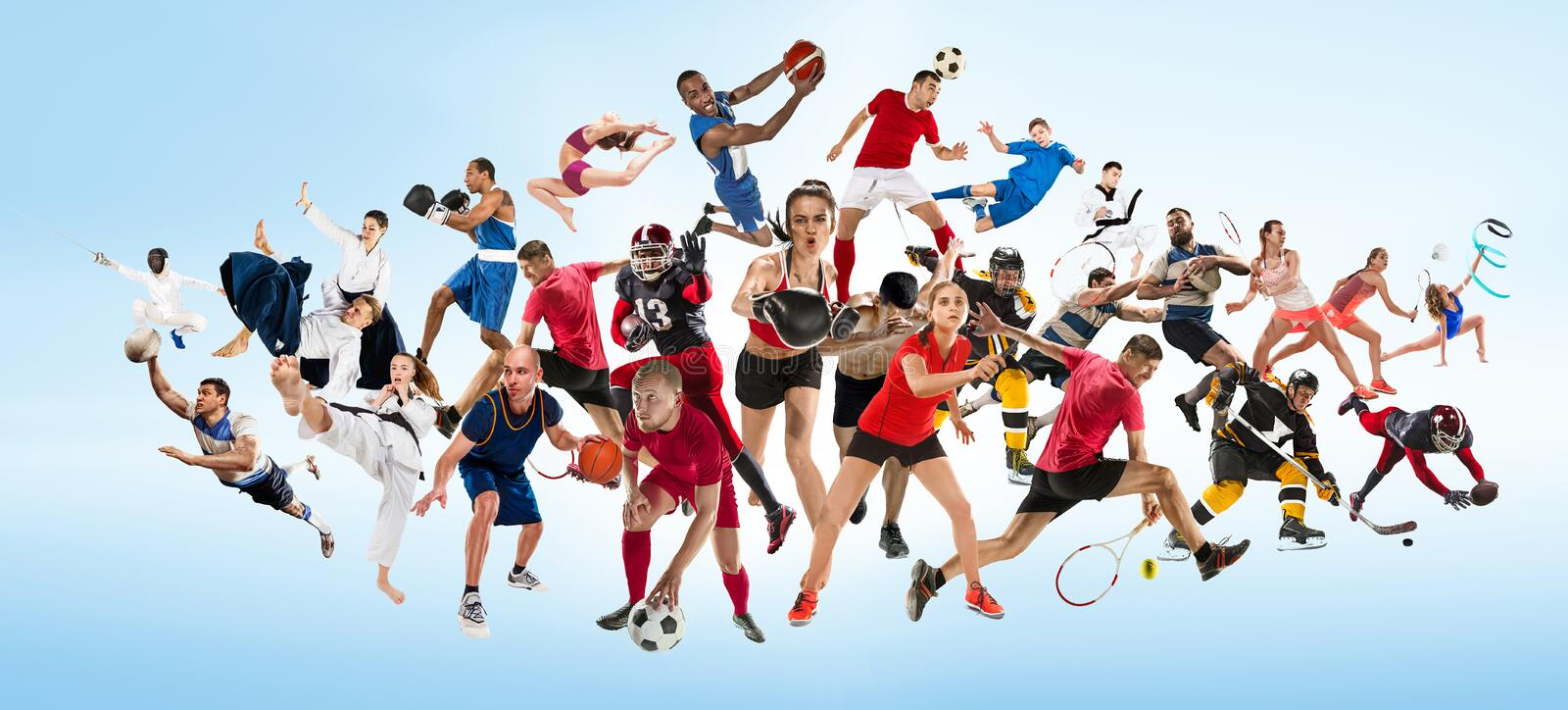 Sport collage about kickboxing, soccer, american football, basketball, ice hockey, badminton, taekwondo, tennis, rugby. Attack. Sport collage about kickboxing stock image