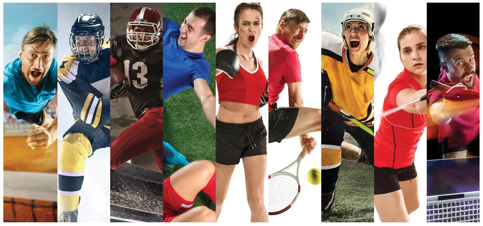 Sport collage about soccer, american football, badminton, tennis, boxing, ice and field hockey, table tennis royalty free stock photos