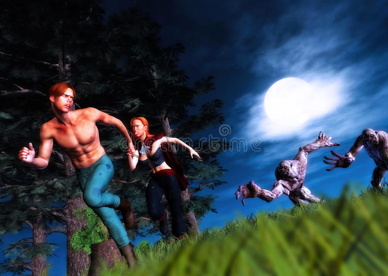 Attack of the Zombies Heroes Running for Life stock photos