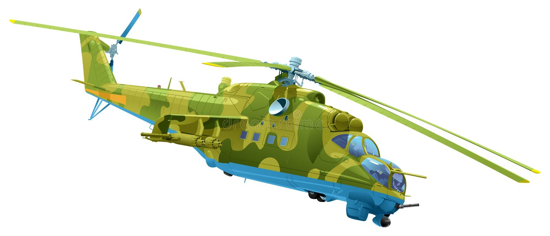Attackhelikopter Mi-24 stock illustrationer
