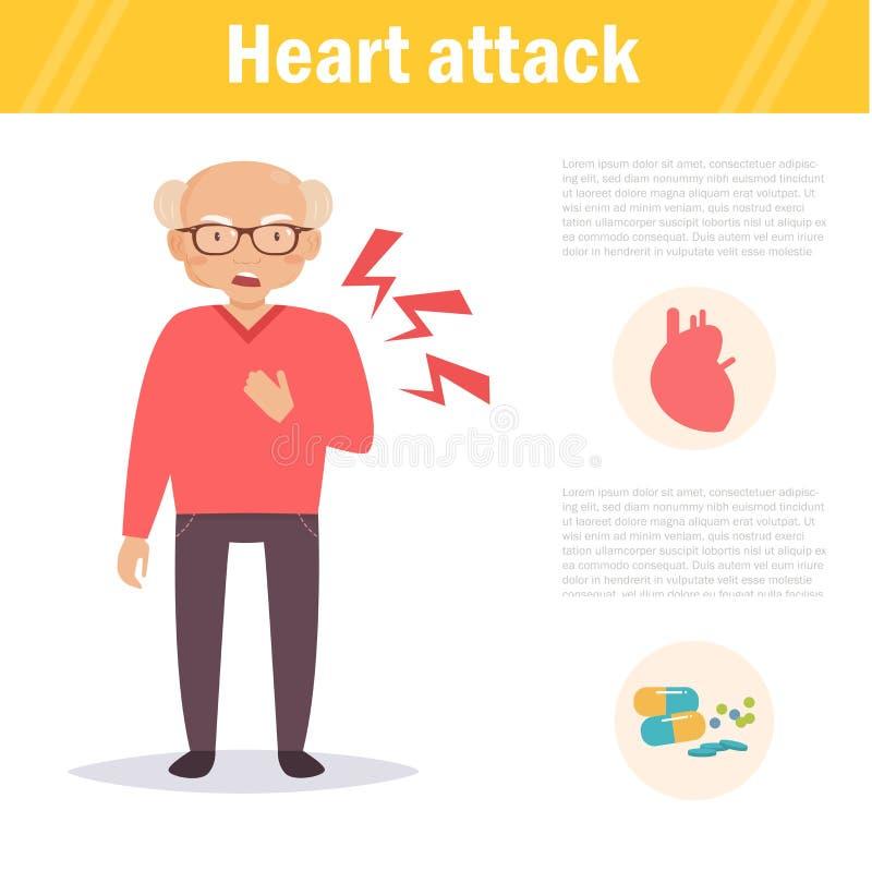 attackhjärta håller mannen tecken royaltyfri illustrationer