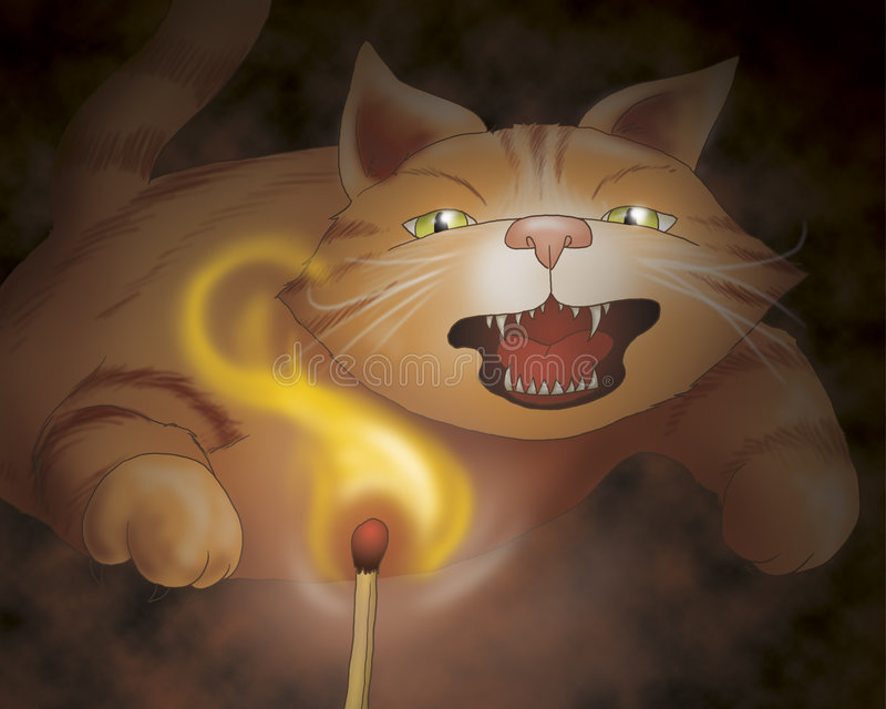 Attacking cat - fairy tale. A angry ferocious cat is attacking. Digital illustration of the Grimms fairy tale: bremen town musicians