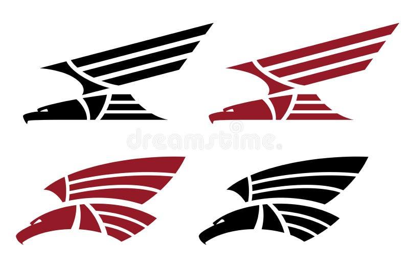 Attacking eagle set for tattoo design stock illustration