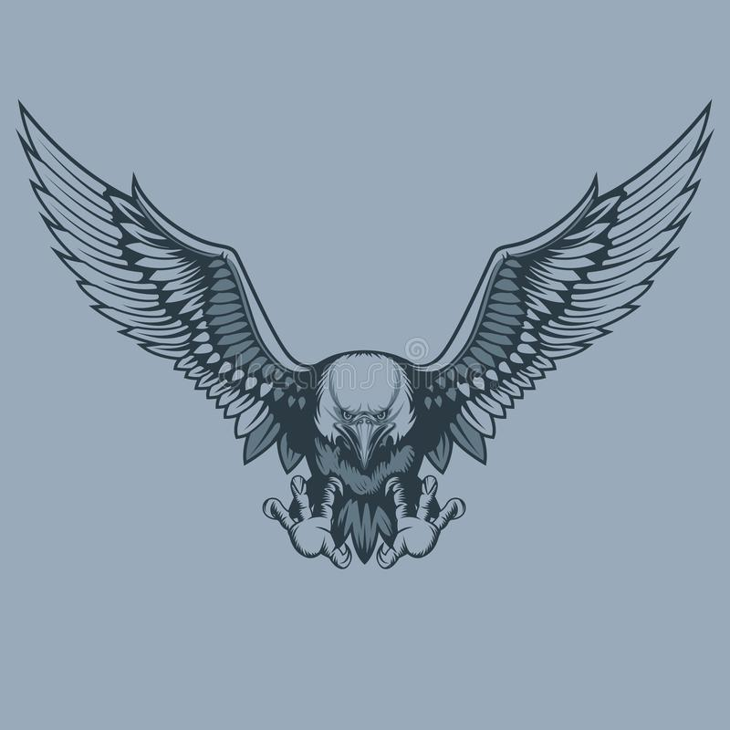 Attacking eagle, tattoo style vector illustration