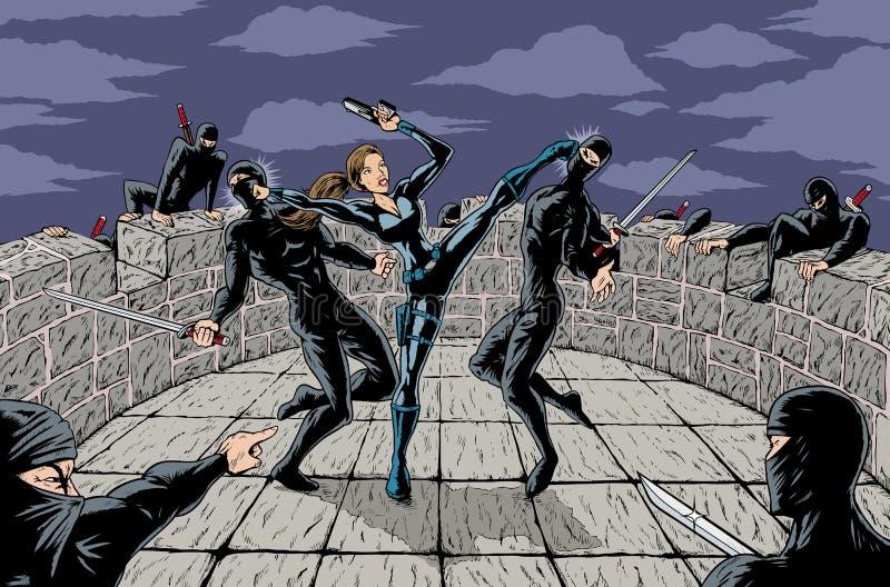 attackninja vektor illustrationer